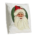 Vintage Santa Burlap Throw Pillow