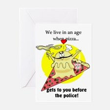 PIZZA CARTOON QUOTE Greeting Cards