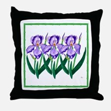 "Purple Iris Garden 18"" Throw Pillow"