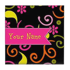 Girly Floral Swirls Monogram Tile Coaster