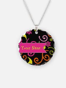 Girly Floral Swirls Monogram Necklace