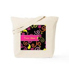 Girly Floral Swirls Monogram Tote Bag