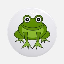 Cute Happy Green Frog Cartoon Ornament (Round)