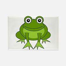 Cute Happy Green Frog Cartoon Rectangle Magnet