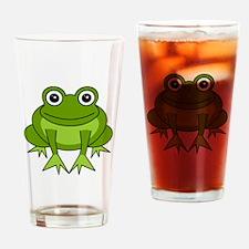 Cute Happy Green Frog Cartoon Drinking Glass