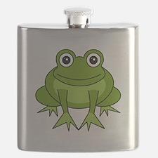 Cute Happy Green Frog Cartoon Flask