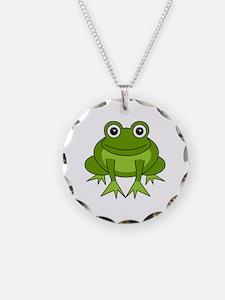 Cute Happy Green Frog Cartoon Necklace