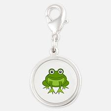 Cute Happy Green Frog Cartoon Silver Round Charm