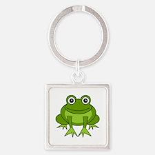 Cute Happy Green Frog Cartoon Square Keychain
