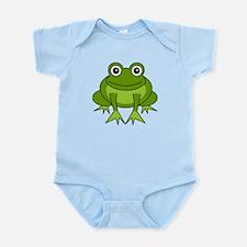 Cute Happy Green Frog Cartoon Infant Bodysuit