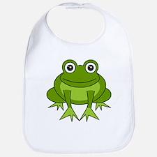 Cute Happy Green Frog Cartoon Bib