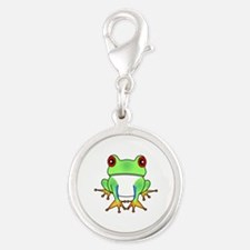 Cute Tree Frog Cartoon Silver Round Charm