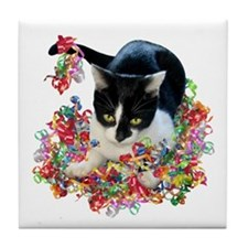 Cat Ribbons Tile Coaster