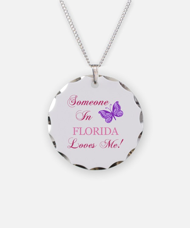 Florida State (Butterfly) Necklace Circle Charm