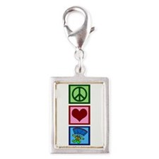 Peace Love Skydiving Silver Portrait Charm
