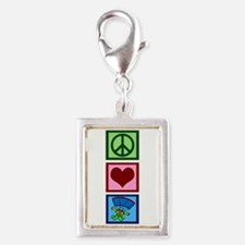 Peace Love Skydiving Silver Portrait Charm