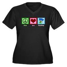 Peace Love Skydiving Women's Plus Size V-Neck Dark