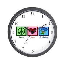 Peace Love Skydiving Wall Clock
