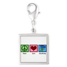 Peace Love Skydiving Silver Square Charm