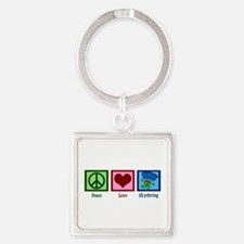 Peace Love Skydiving Square Keychain