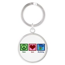 Peace Love Skydiving Round Keychain