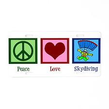 Peace Love Skydiving Aluminum License Plate
