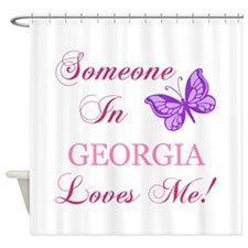Georgia State (Butterfly) Shower Curtain
