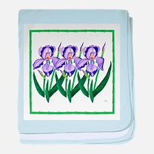Purple Iris Garden Baby Blanket (Pink or Blue)