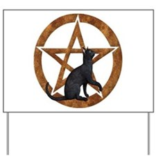 Pentacle with Cat Yard Sign