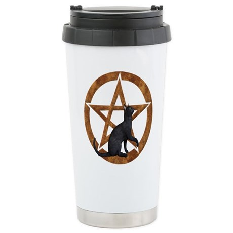 Pentacle with Cat Stainless Steel Travel Mug
