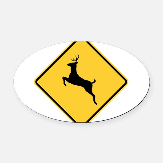 Deer Crossing Sign Oval Car Magnet