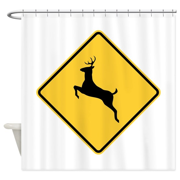 Deer Crossing Sign Shower Curtain by SignsandmoreSigns