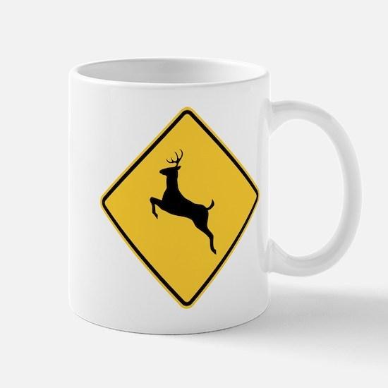 Deer Crossing Sign Mugs