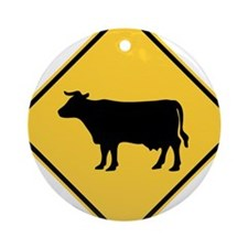 Cattle Crossing Sign Ornament (Round)