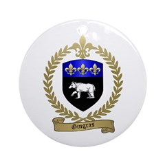 GINGRAS Family Crest Ornament (Round)