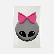 Pink Bowed Alien Grey Magnets