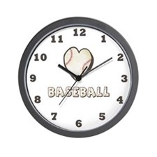 Heart Baseball Wall Clock