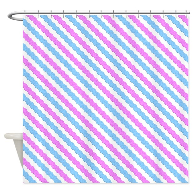 Pink And Blue Rickrack Pattern Shower Curtain By ManchesterandBedding