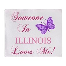 Illinois State (Butterfly) Throw Blanket