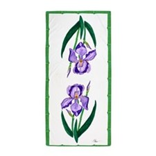 Double Purple Iris Beach Towel