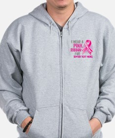 Personalized Breast Cancer Custom Zip Hoody
