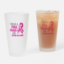 Personalized Breast Cancer Custom Drinking Glass