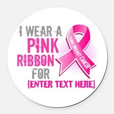 Personalized Breast Cancer Custom Round Car Magnet