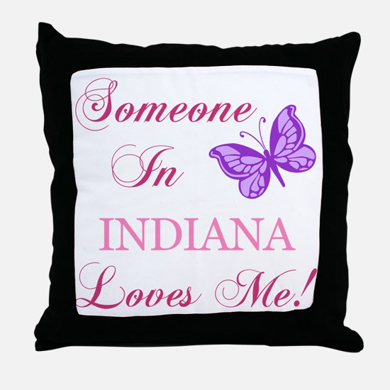 Indiana State (Butterfly) Throw Pillow