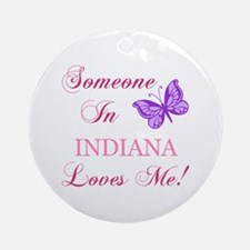 Indiana State (Butterfly) Ornament (Round)