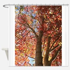 Ruby Leaves Shower Curtain