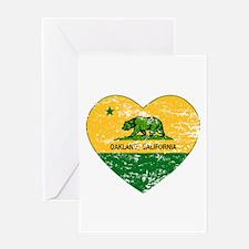 Oakland California green and yellow heart Greeting