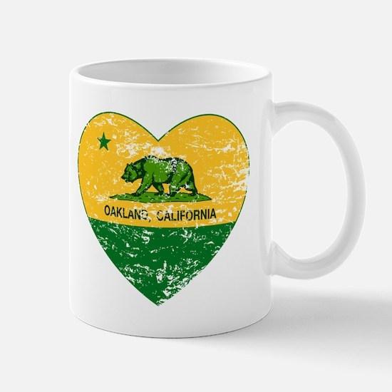 Oakland California green and yellow heart Mugs