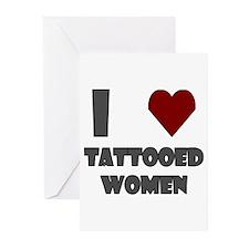 I Love Tattooed Women Greeting Cards (Pk of 10)