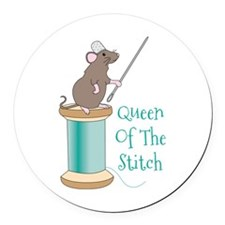 Queen of the Stitch Round Car Magnet
